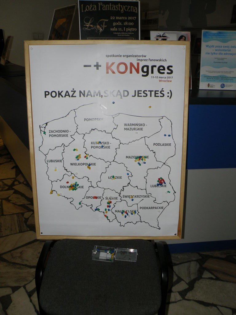 Map of Poland with pins in it