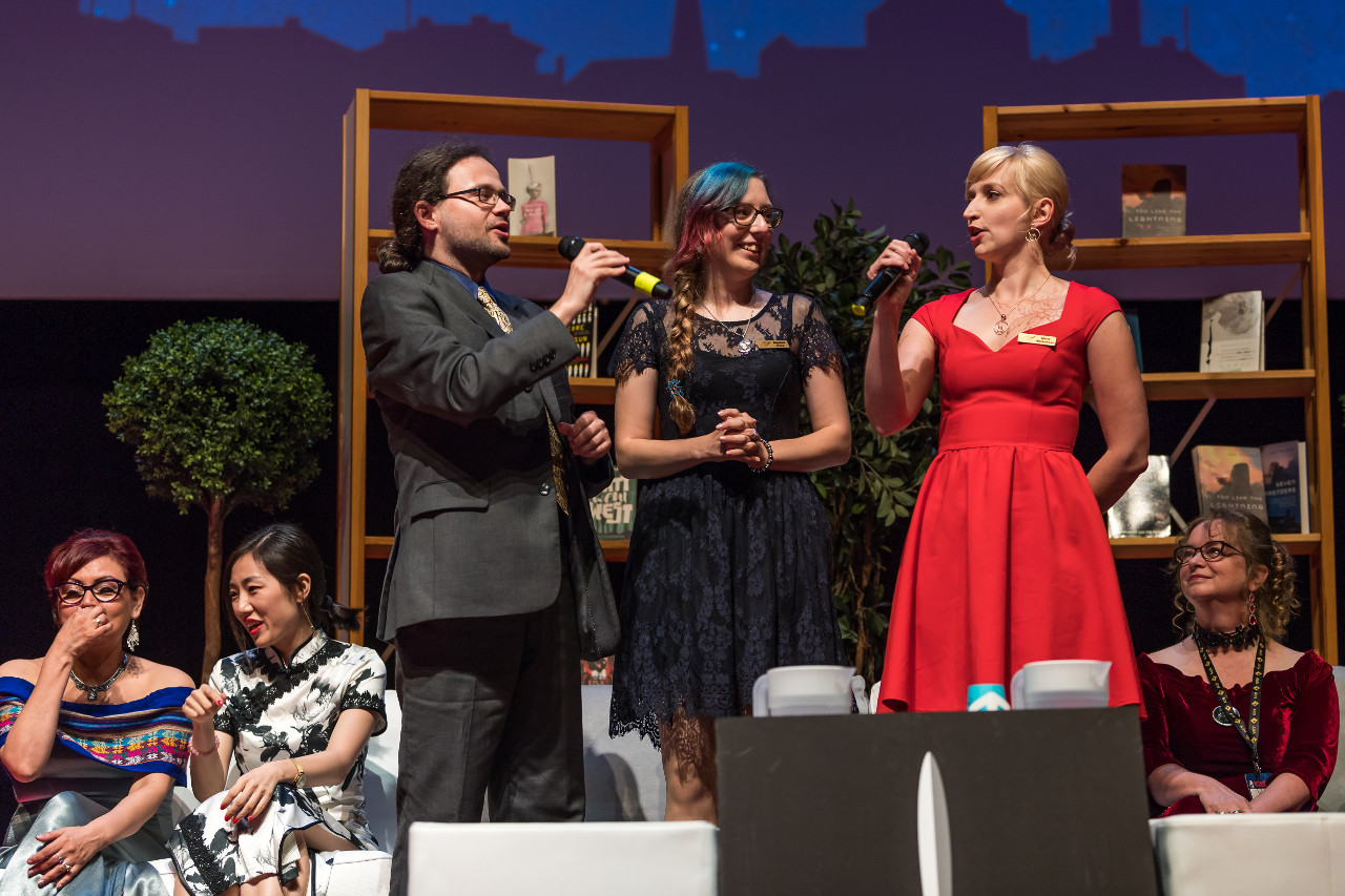 Marta and myself singing Happy Birthday to Magda. Picture was made by Henry Söderlund