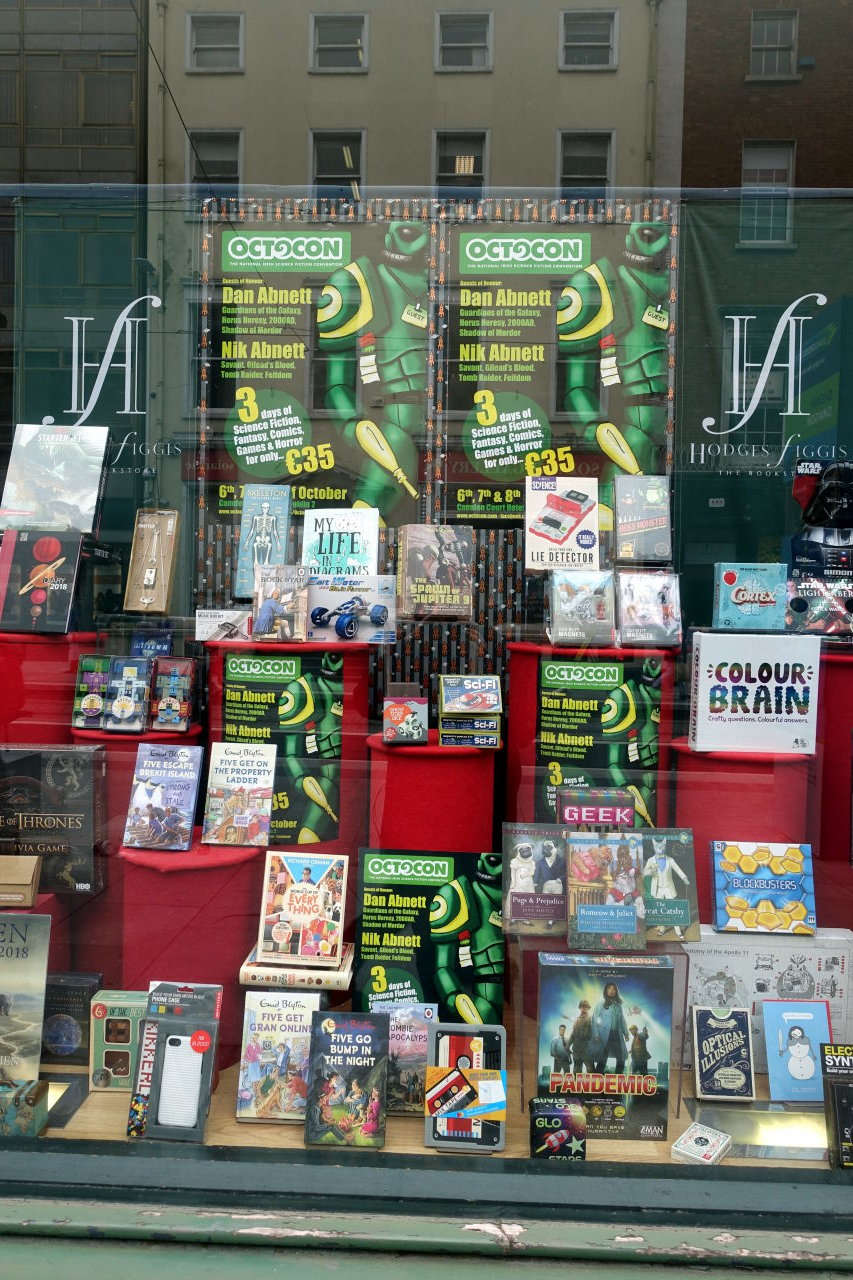 Octocon's posters in one of the Dublin bookshops