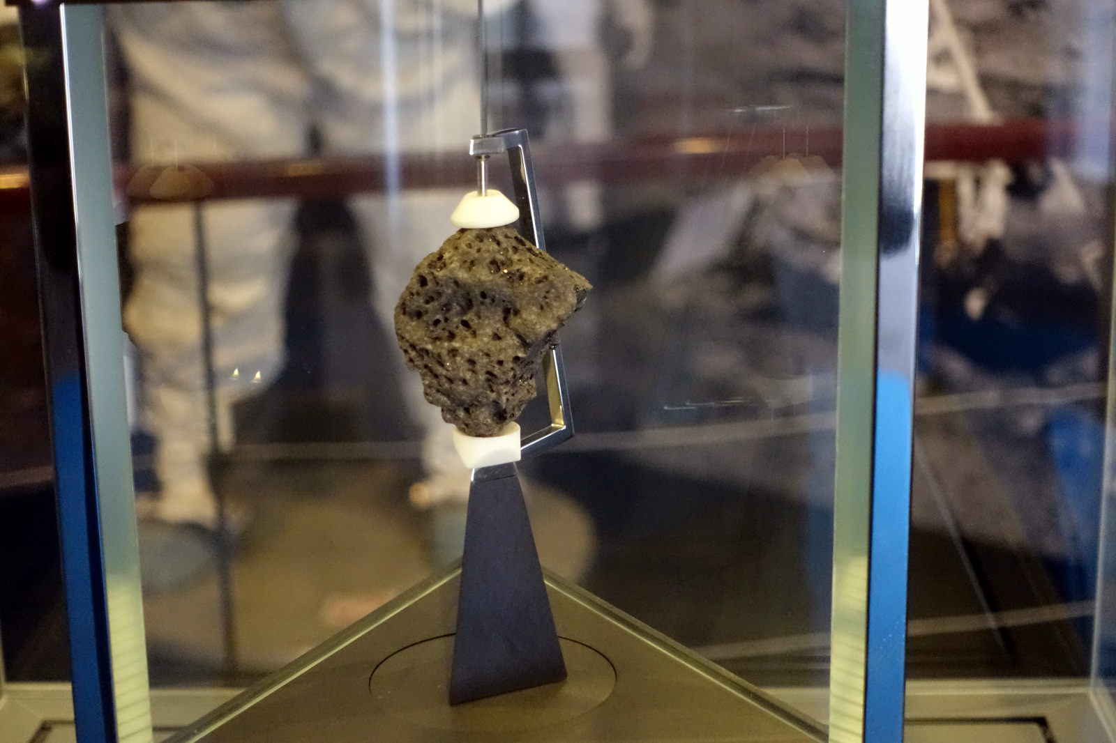 Gray rock in a showcase.