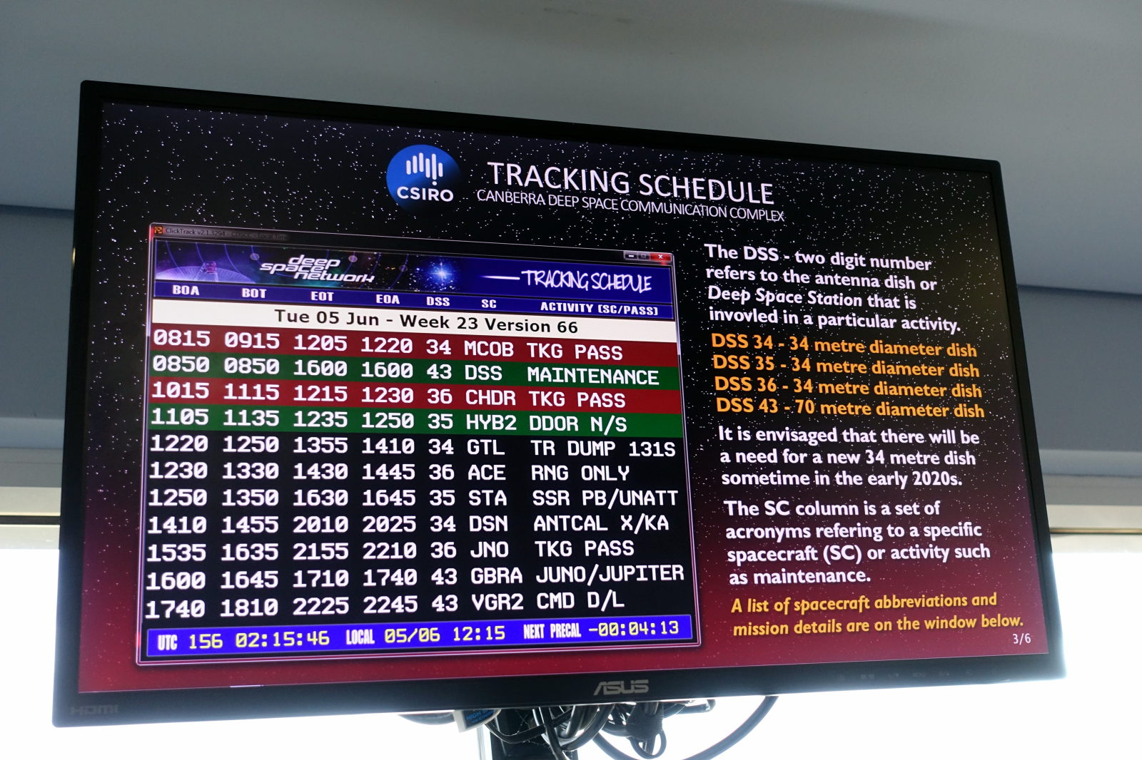 Screen showing tracking schedule at CDSCC