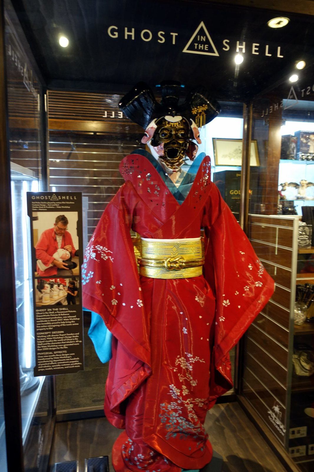 Display case with a model from Ghost in The Shell wearing kimono.
