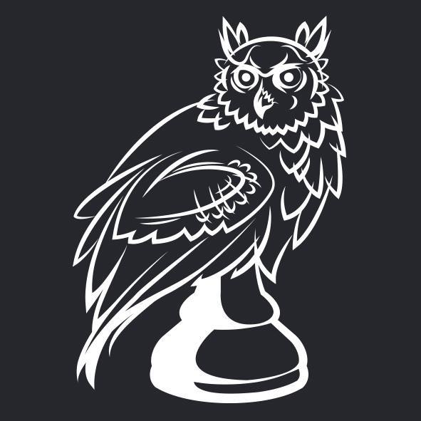 Chess pawn stylized as an owl.
