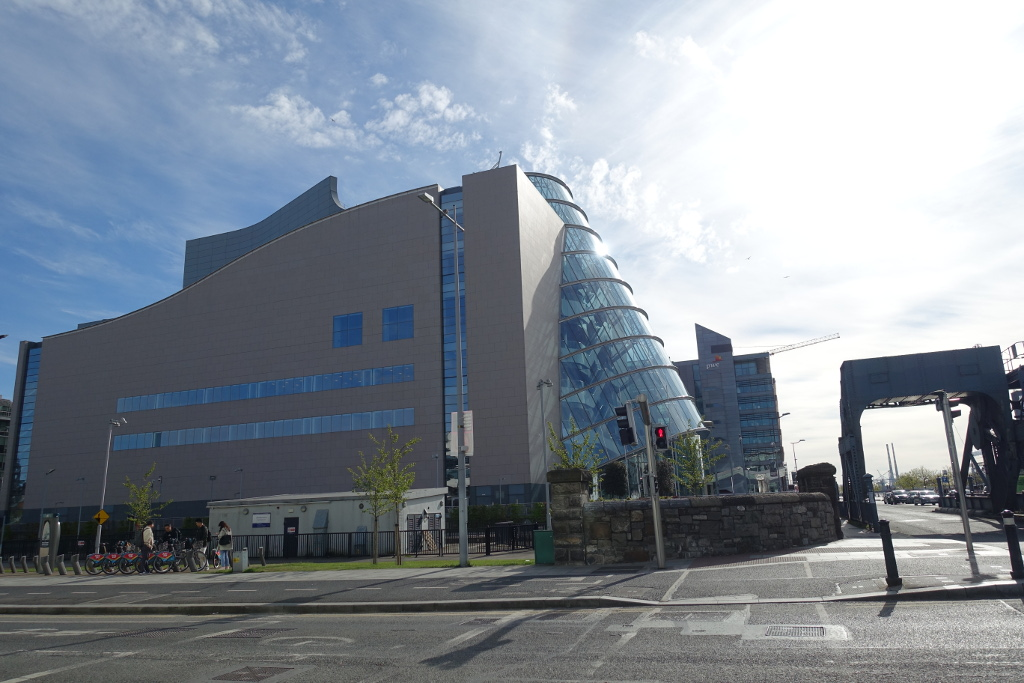 Picture shows Convention Centre Dublin - both the glass, barrel shaped front and the concrete body of the building.