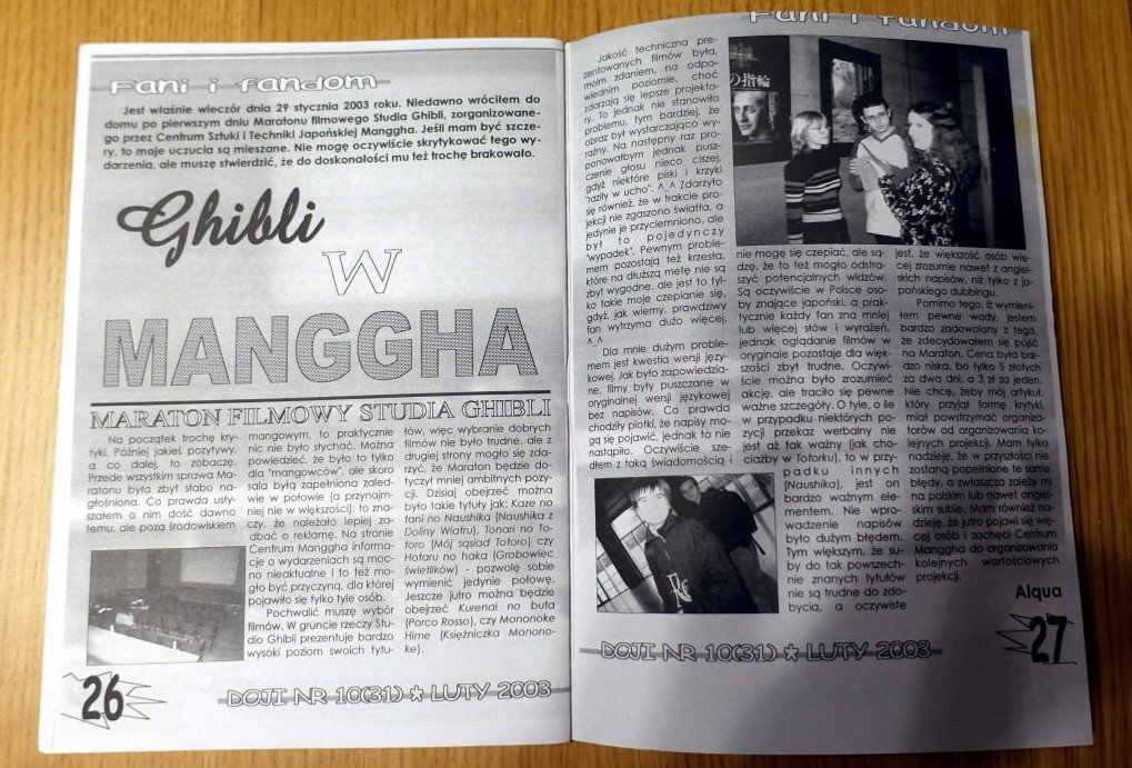 Interior of the fanzine. The text is titled 'Ghibli w Manggha'.