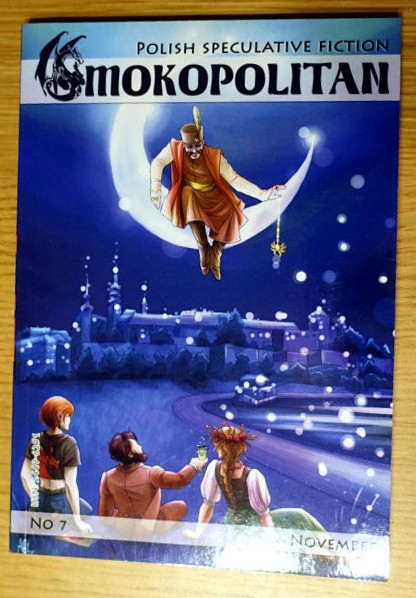 Cover of 'Smokopolitan' fanzine. It shows three people sitting by the river and one person sitting on a crescent moon.