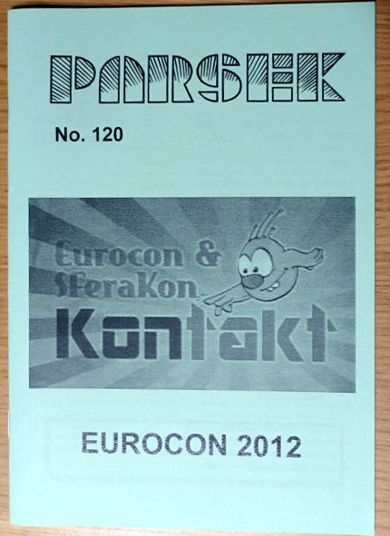 Cover of the Parsek fanzine. It shows the picture of Sfera club mascott touching the 'Kontakt' text. Below the picture it is written 'Eurocon 2012'.