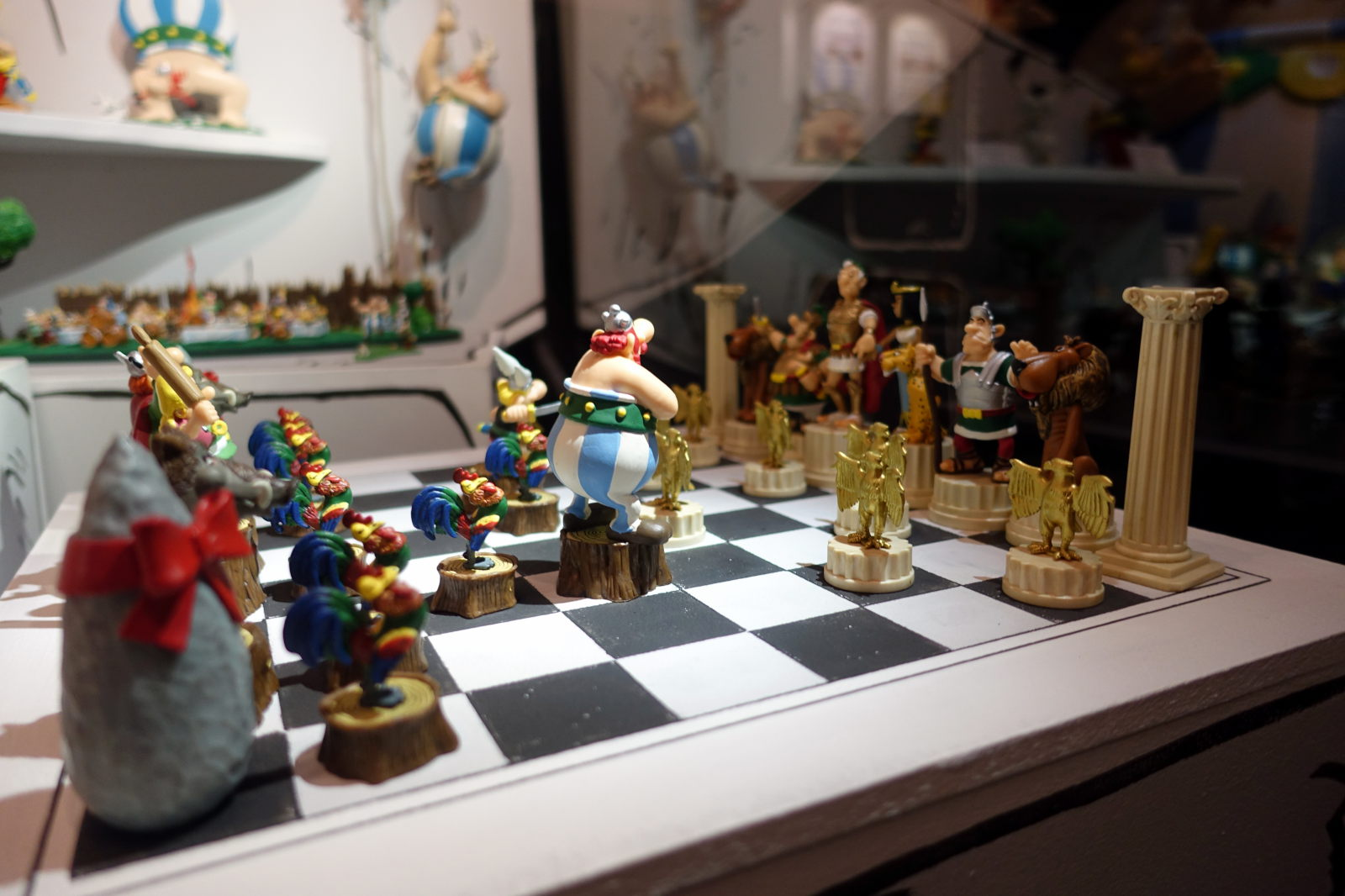 Chess figures with characters from Asterix.