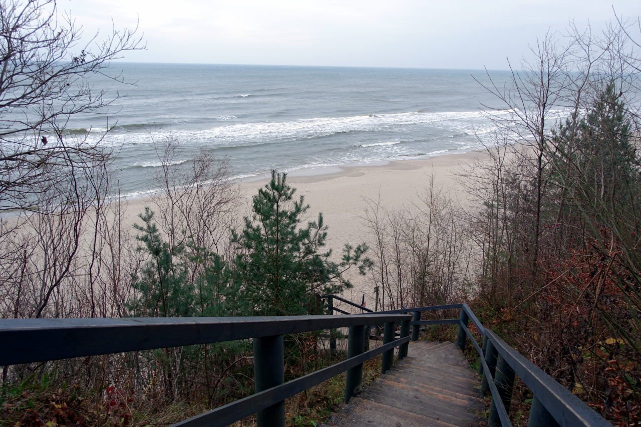 Stairs leading to the beach.