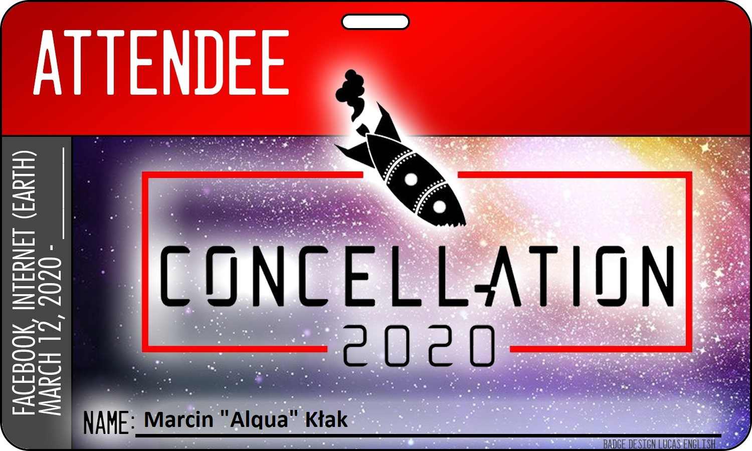 Convention badge with the Concellation 2020 name and a logo of broken rocket.