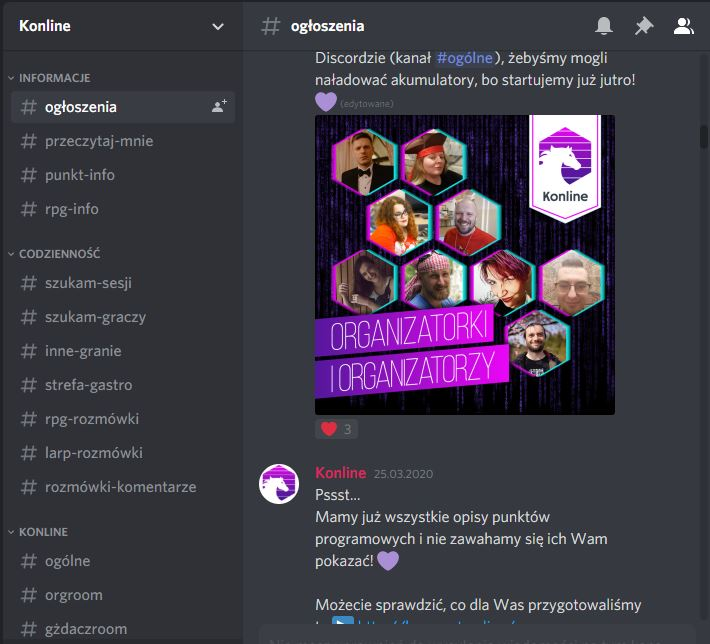 Screenshot from the Discord application showing list of channels (with Polish names) and part of the chat with a picture of the organizers.