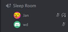 Screenshot from Discord showing two users under Sleep Room voice channel.