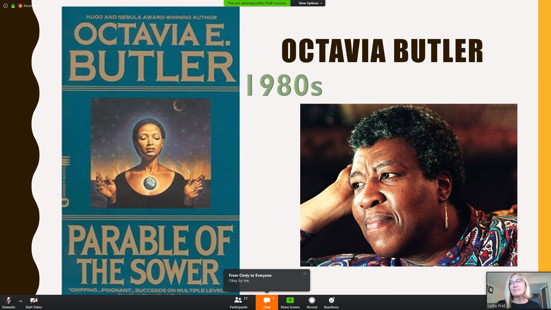 Slide from the presentation shows the cover of 'Parable of the sower' and to the right of it there is a picture of Octavia Butler. Bottom right corner shows a webcam view of the presenter.