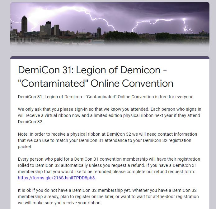 Screenshot from Google Forms. On top there is a violet picture of city skyline with lightnings. Below is the long text starting with 'DemiCon 31: Legion of Demicon - 'Contaminated' Online Convention'