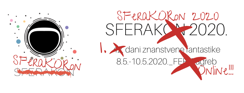 To the left image shows astronaut's helmet. Below is the striked through word SFERAKON and hand written SFeraKORon. To the right there is again SFERAKON repalced with SFERAKORON as well as striked out  information about date and place (in Croatian).