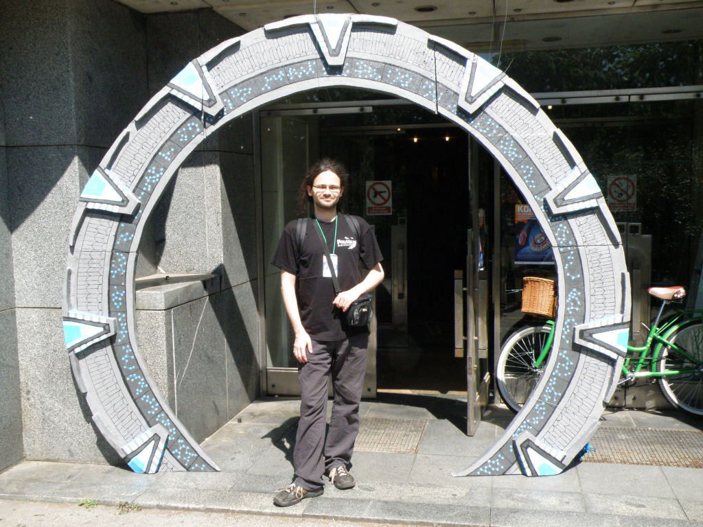 Man standing in the replica of Star Gate