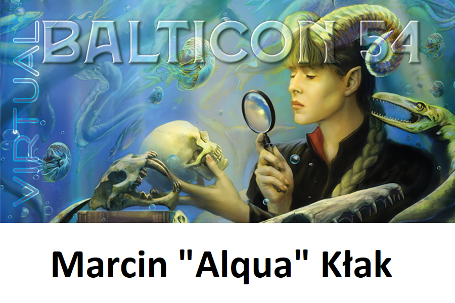 Convention badge with the art presenting a faun(?) looking at human skull through magnifying glass.