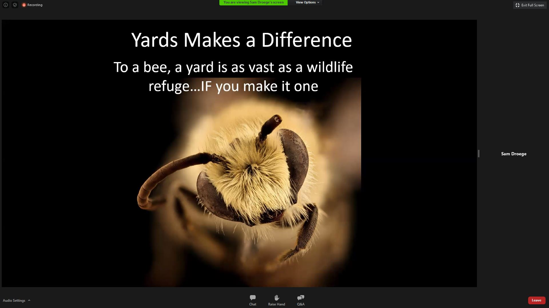 A macrophotography of a bee.  Above the picture there is text: 'Yards Makes a Difference. To a beee, a yard is as vast as a wildlife refuge... IF you make it one'