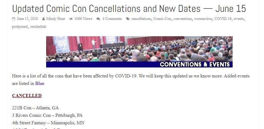 Screenshots form a website. It shows title 'Updated Comic Con Cancellations and New Dates — June 15'. Below is small picture from the room full of people. Later there are few names of the cons that were cancelled.