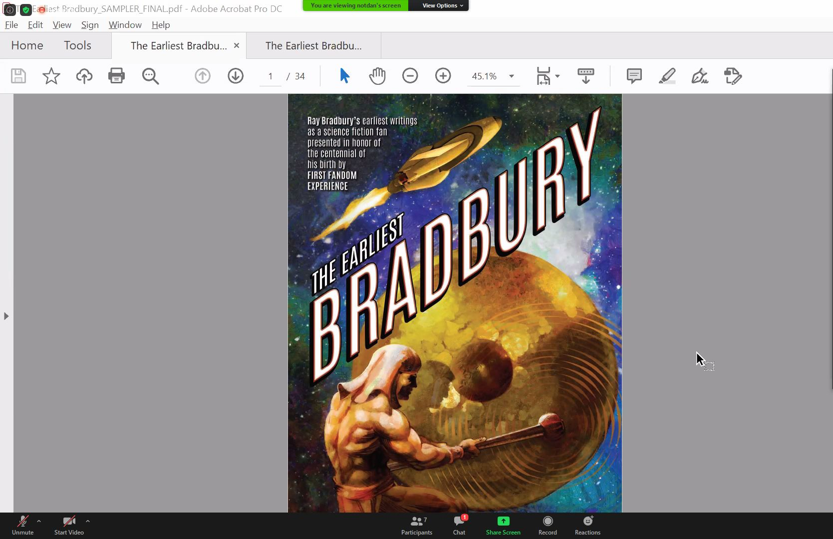Screenshot from screensharing session. What is visible is the cover with title 'Earliest Bradbury'. The picture shows a man playing on big gong. In the background there is a picture of space.