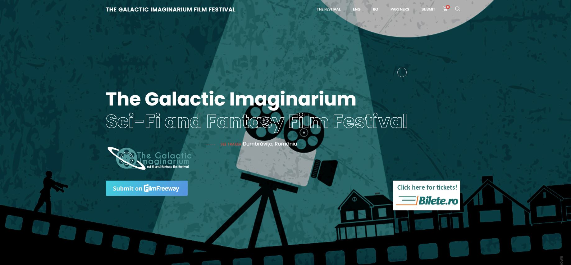 Screenshot from website. Apart from The Galactic Imaginarium Sci-Fi and Fantasy Film Festival there are some small logotypes and big picture. To the left there is a zombie. To the right there are a few houses and in the center there is a movie camera on a tripod.