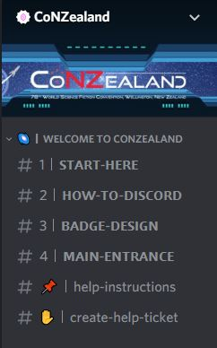 Screenshot from Discord app. Shows CoNZealand logo and name of the first few channels on Discord.