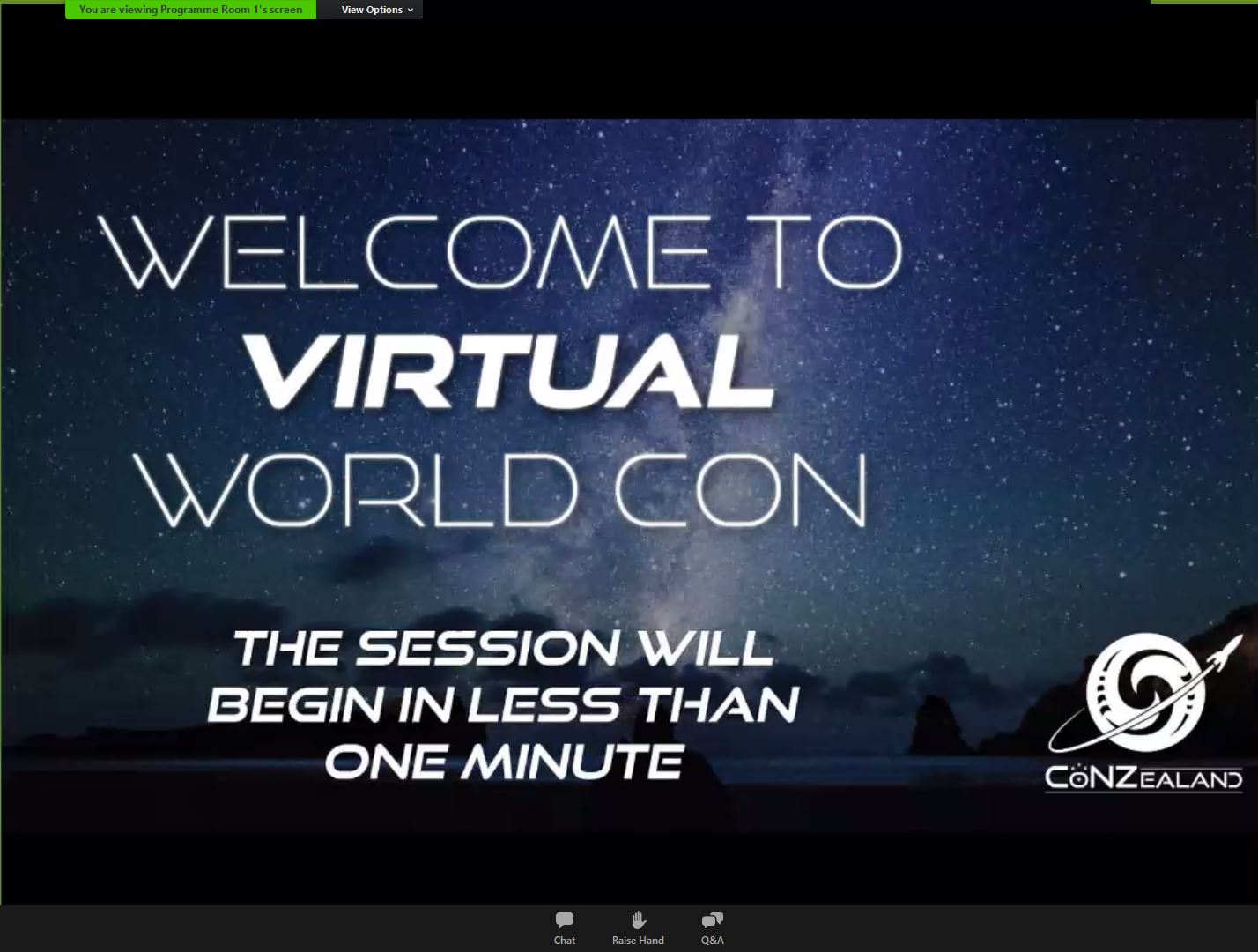 CoNZealand logo and inscription 'Welcome to virtual worldcon The session will begin in less than one minute' with the starry night background.