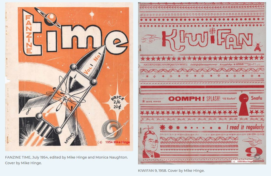 Covers of two fanzines - 'Fanzine Time' from July 1954 and 'KIWIFAN 9' from 1958. Both covers created by Mike Hinge.