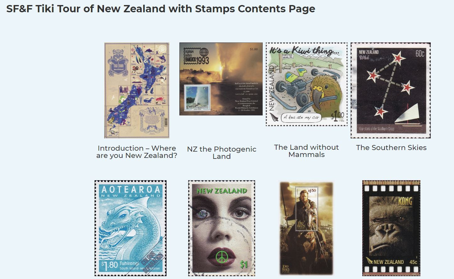 Screenshot from website showing title 'SF&F Tiki Tour of New Zealand with Stamps Contents Page'. Below the title there are 8 stamps with subtitles showing different aspects of New Zealand.