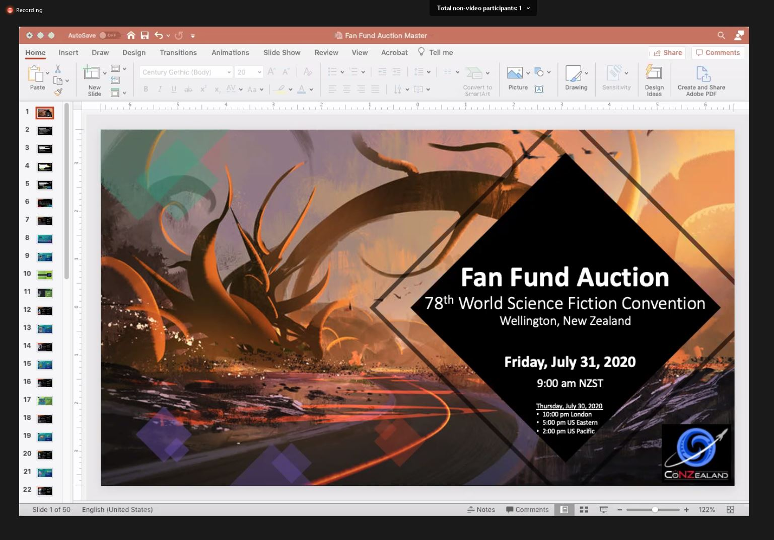 Powerpoint window with large picture and text informing about Fan Funds Auction.