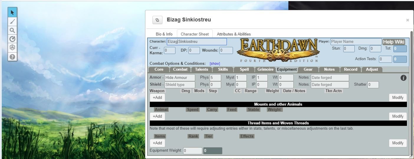 In the front character sheet with big golden 'Earthdawn' inscription is visible. behind it there is a painted landscape with grass and heaven.