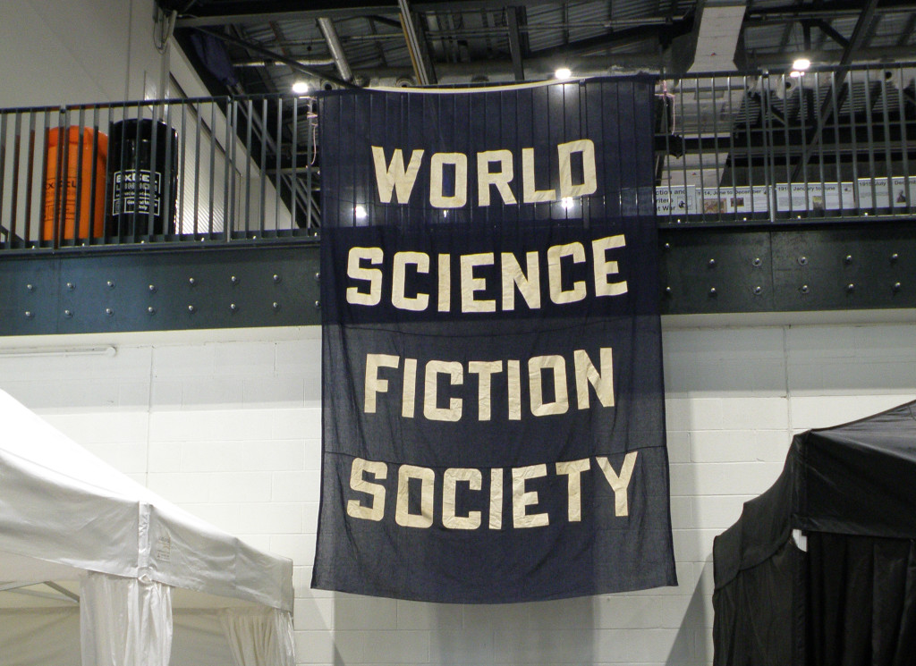 Black flag with 'World Science Fiction Society' inscription.