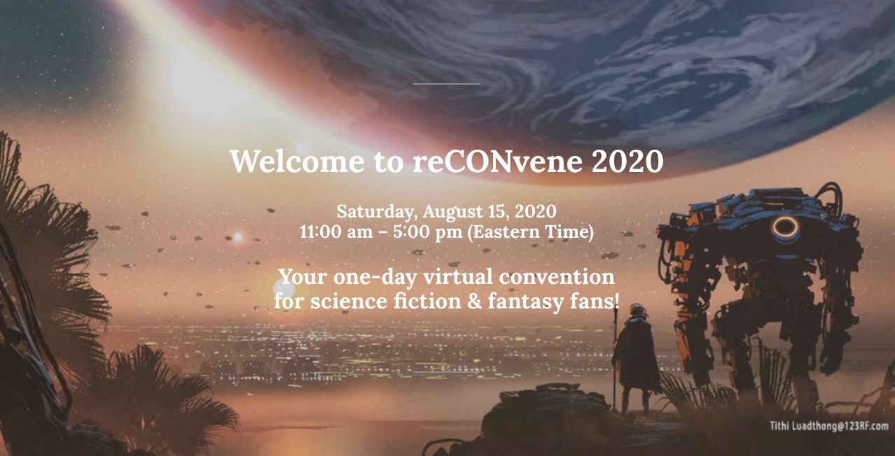 Picture with an inscription. Text starts with 'Wlecome to reCONvene 2020' and follows with convention details. Picture shows a person and a robot overlooking city landscape.