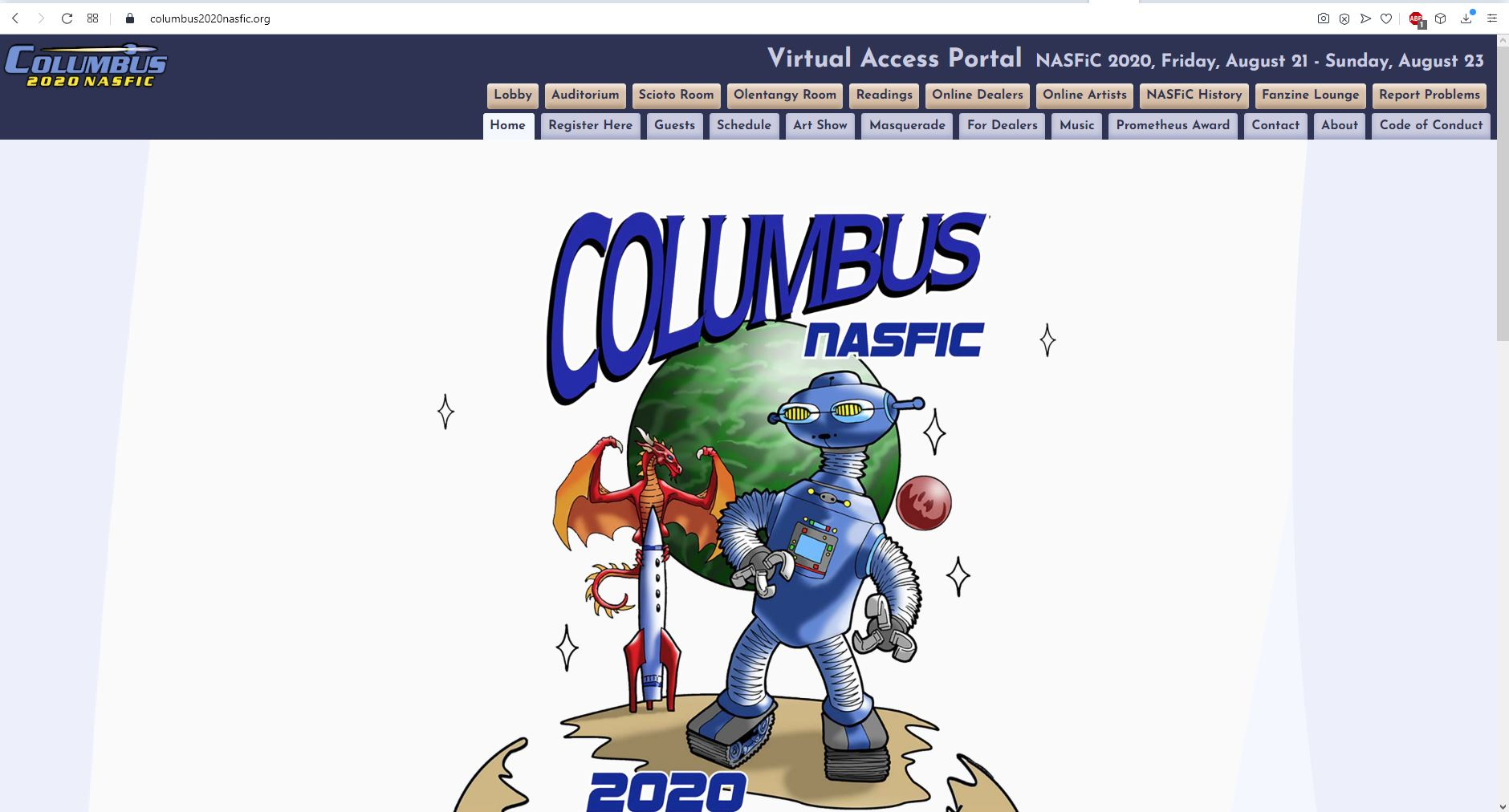 Screenshot showing the home page of Columbus NASFiC. Picture in the centre shows a robot, a rocket and a dragon and behind them there are two planets. The bigger one is green and the smaller one red.