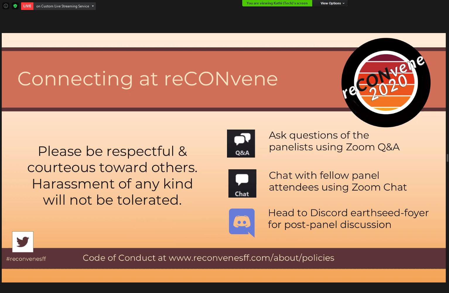 A slide in the presnetation. It shows mainly text explaining how to behave during a panel and how to use Zoom and Discord.