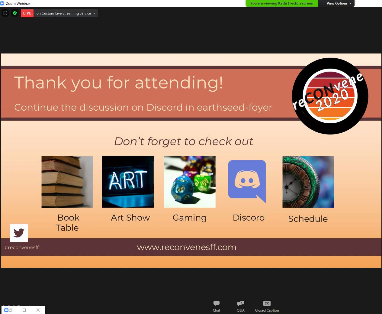 a slide from presentation showing 'Thank you for for attending' text. It contains also logo and 'Don't forget to check out' section listing Book table, Art Show, Gaming, Discord and Schedule.