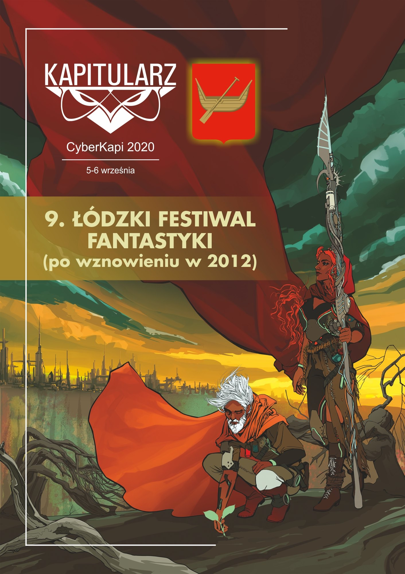 Convention poster. Picture shows an old man crouching and a women standing. Man planst a plant and woman holds a spear. There is also convention name and logo. Poster features also a coat of arms of Lódż - boad on the red field.