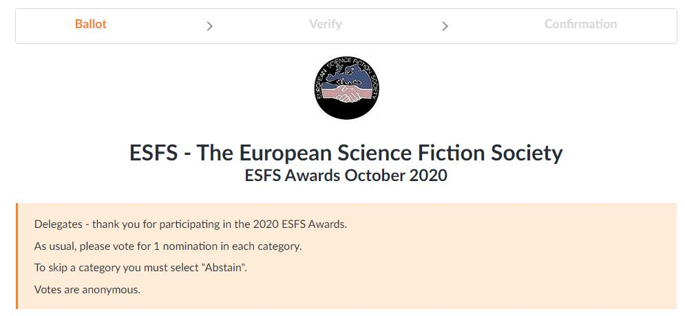 Screenshot from website. It shows ESFS logo (two shaking hands in front of Europe map. Below it states ESFS - The European Science Fiction Society. ESFS Awards October 2020. Below there are instructions how to vote.