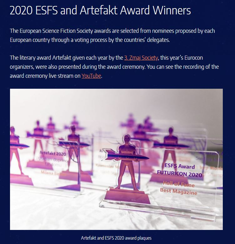 Screenshot from website. It starts with the title '2020 ESFS and Artefakt Award Winners'. Below is some more text and a picture showing plaques with the scultpture of a man holding a rocket.