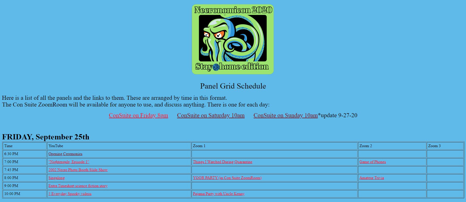 Screenshot from website showing convention graphic (Cthulhu on the black background) and below Panel Grid Schedule.