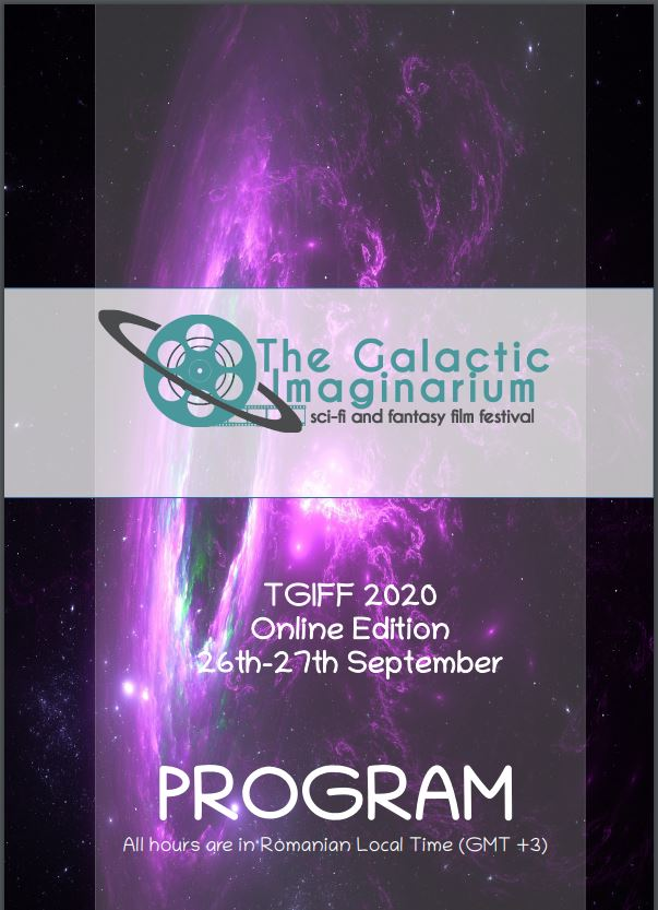 Programme Book cover. In the background there is a purplish cosmic picture. In the fron there is festivals's logo, name, date, and the word 'PROGRAM'.