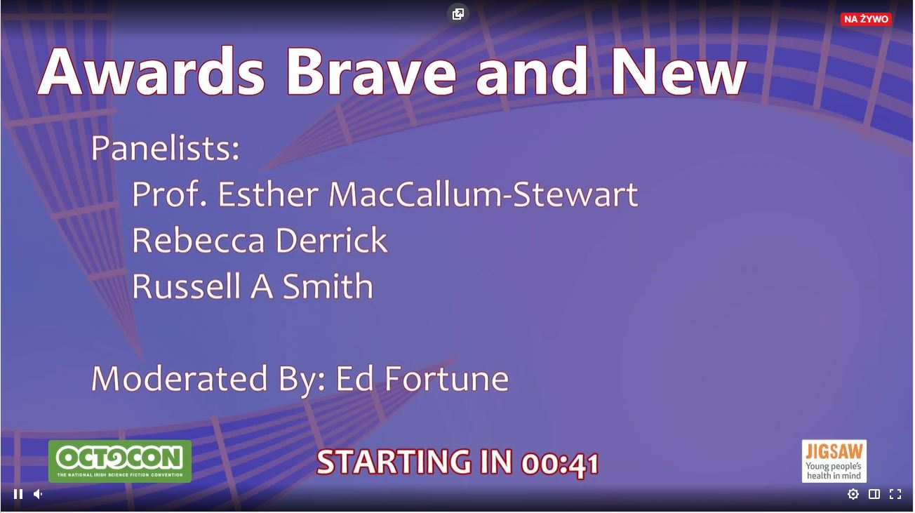 Screen from Twitch. It shows Octocon's violet background and inscription 'Awards Brave and New' and the list of panelists.