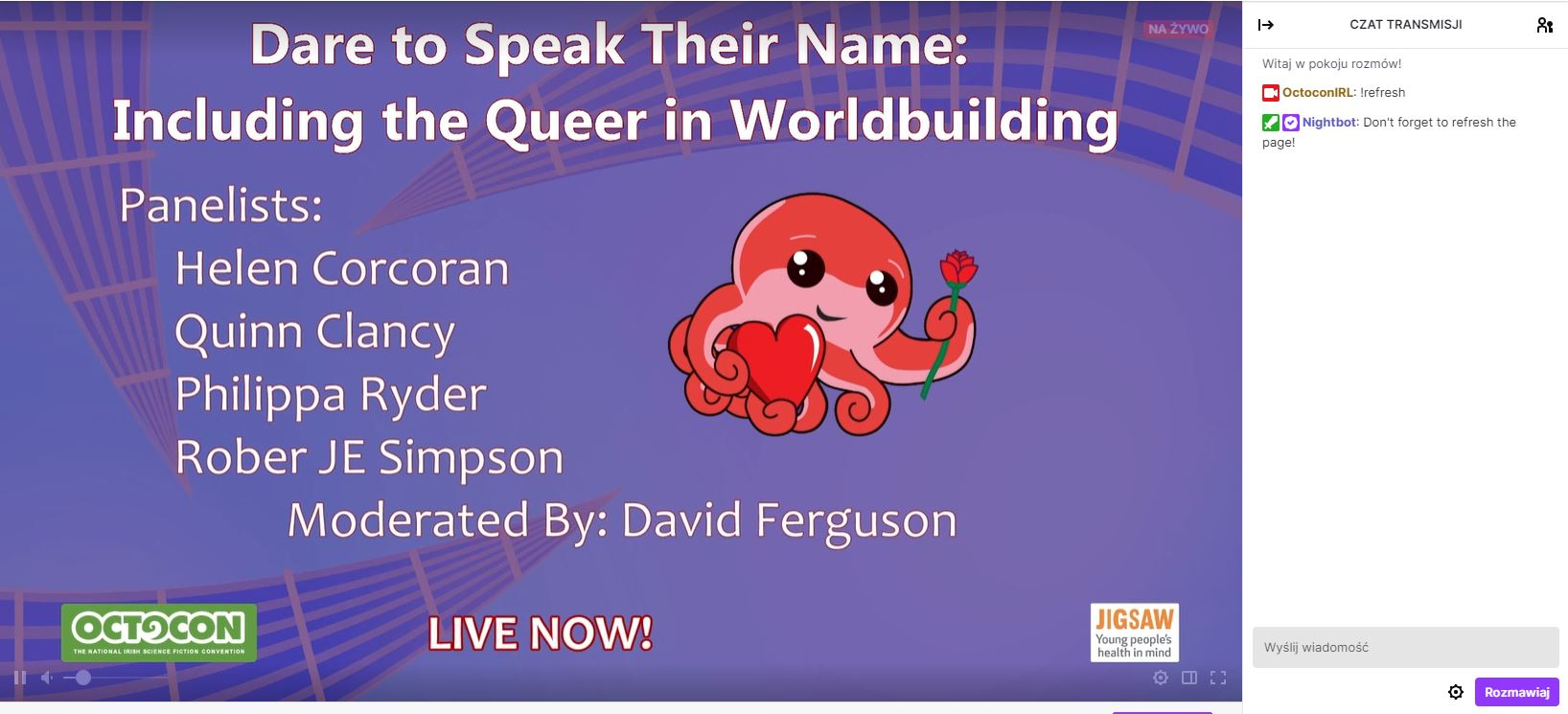 Screenshot from Twitch showing violet Octocon background. Big ctopus emoji with heart and rose, title of the panel 'Dare to Speak Their Name: Including the Queer in Worldbuilding', and the list of panelists.