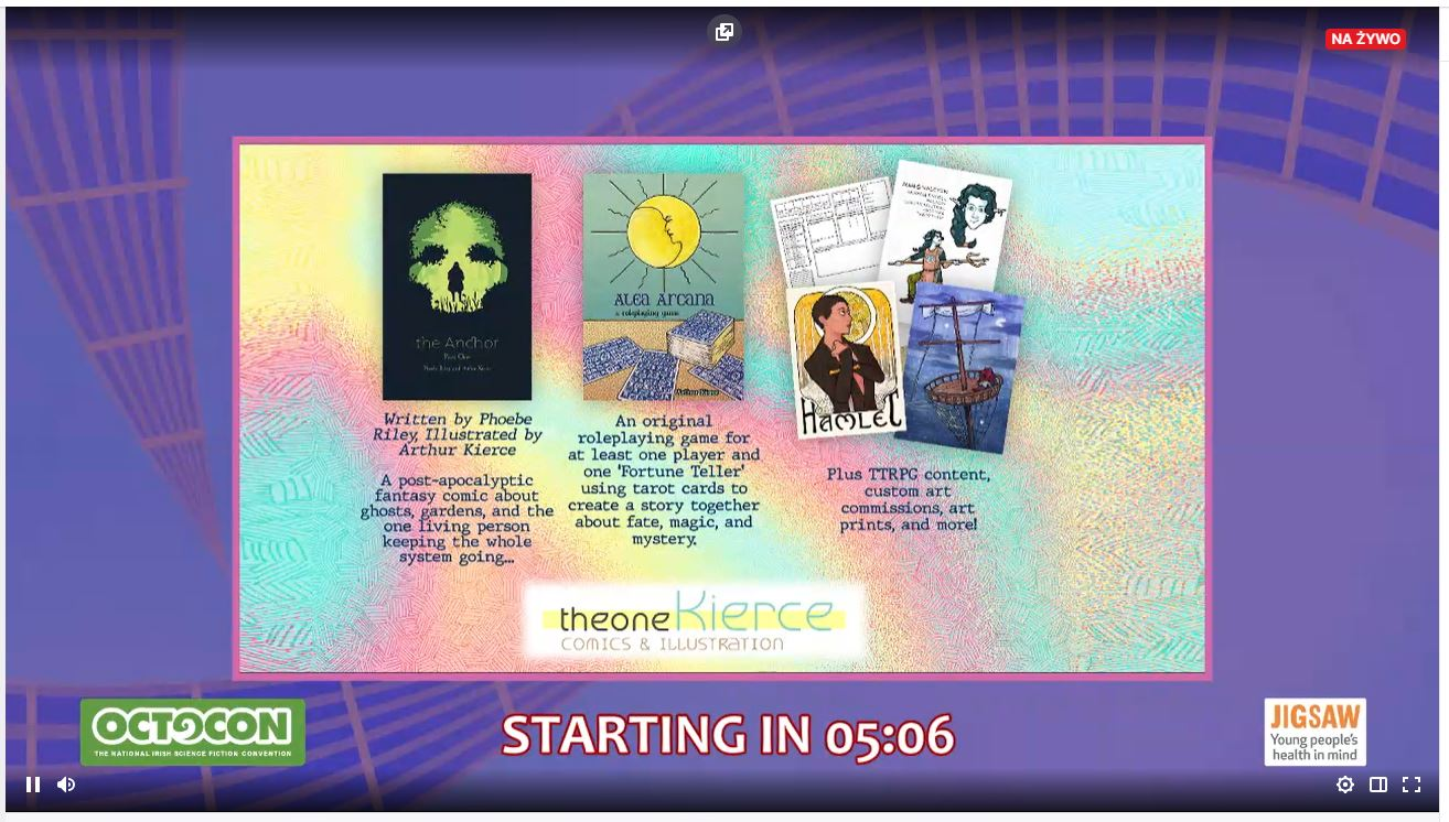 The ad of 'Theone Kierce' with a few comic covers on it presented on violet convention background.