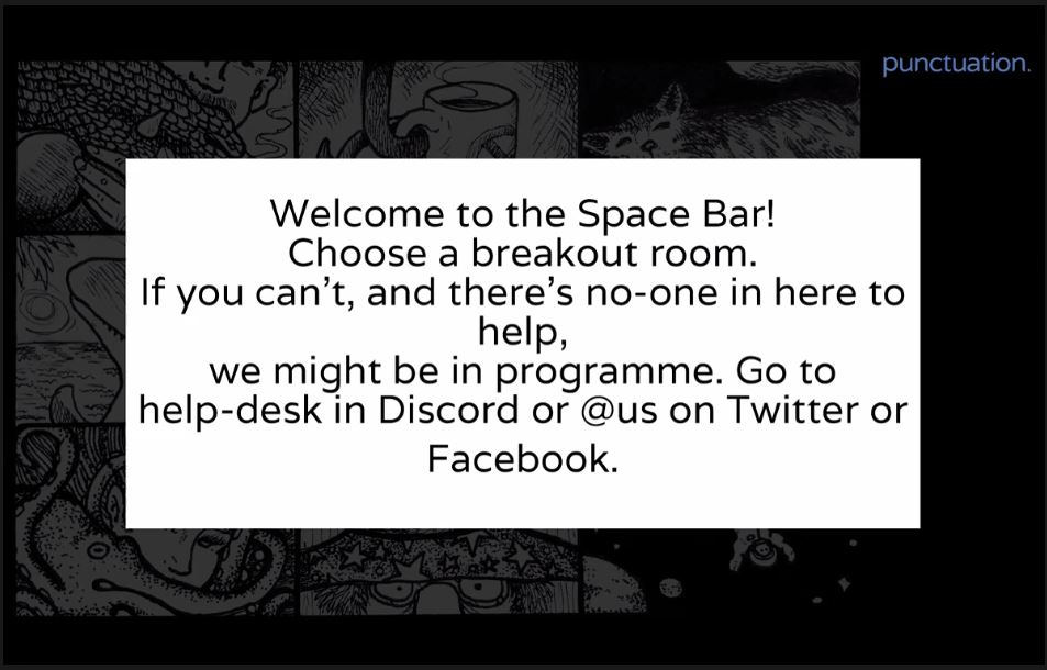 Text on a white background that starts with 'Welcom to the Space Bar!'. Behind there are parts of convention graphics.