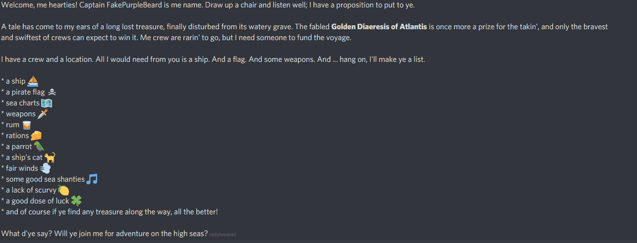A screenshot from Discord server of PunctuationCon. It contains a lot of text and a few icons (a ship, a pirate flag, a map, a dagger, a parrot, a piece of cheese, a lemon, and more).