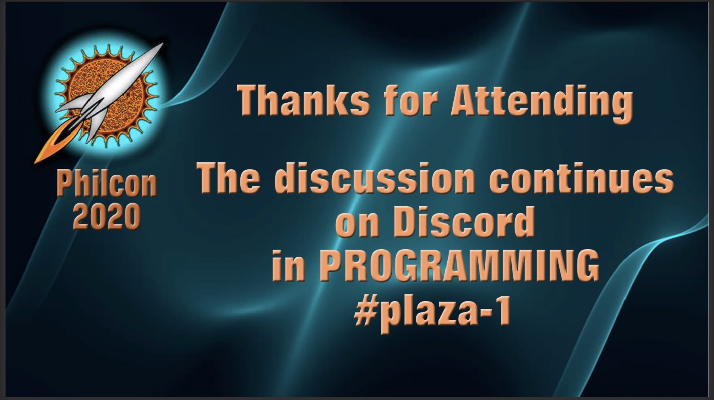 Screenshot showing text on the background. It reads: 'Thanks for Attending The discussion continues on Discord in PROGRAMMING #plaza-1'.