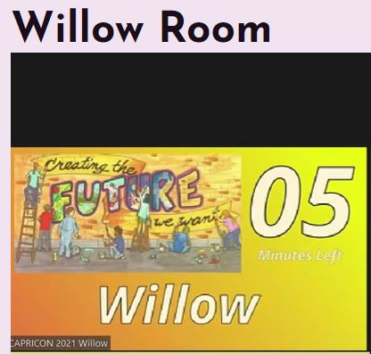 Small picture showing a countdown stopped at '05 Minutes Left'. Below it there is the name of the room 'Willow', To the left of the counter there is a picture of brick wall with people making 'Creating the FUTURE we want' inscription.