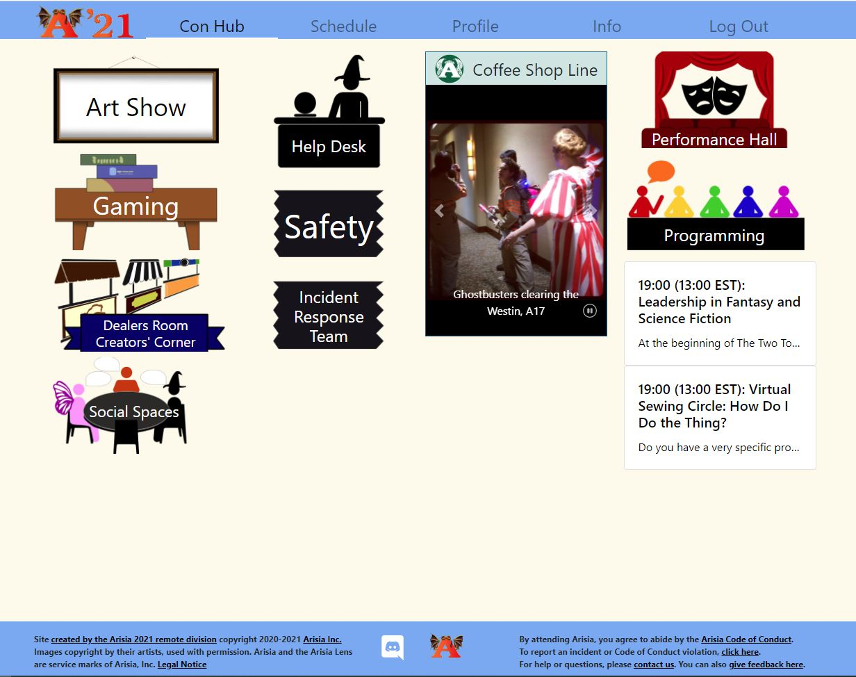 Screenshot from website. It contains a few icons guiding to different parts of the convention.