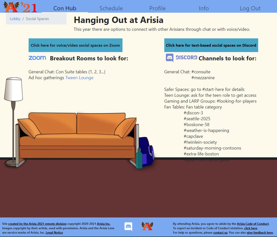 Screenshot from the wbsite. There is a lot of text and a big picture of a couch.